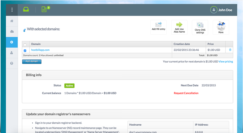 cPanel DNS | HostBill | Billing & Automation Software for WebHosts