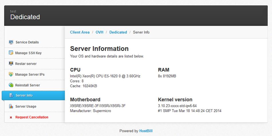 OVH Dedicated Servers | HostBill | Billing & Automation