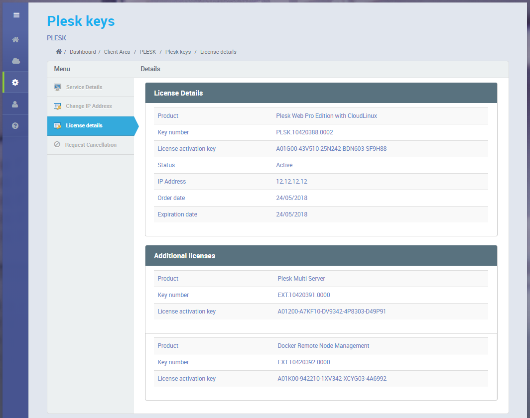 Plesk Key Administrator | HostBill | Billing & Automation Software