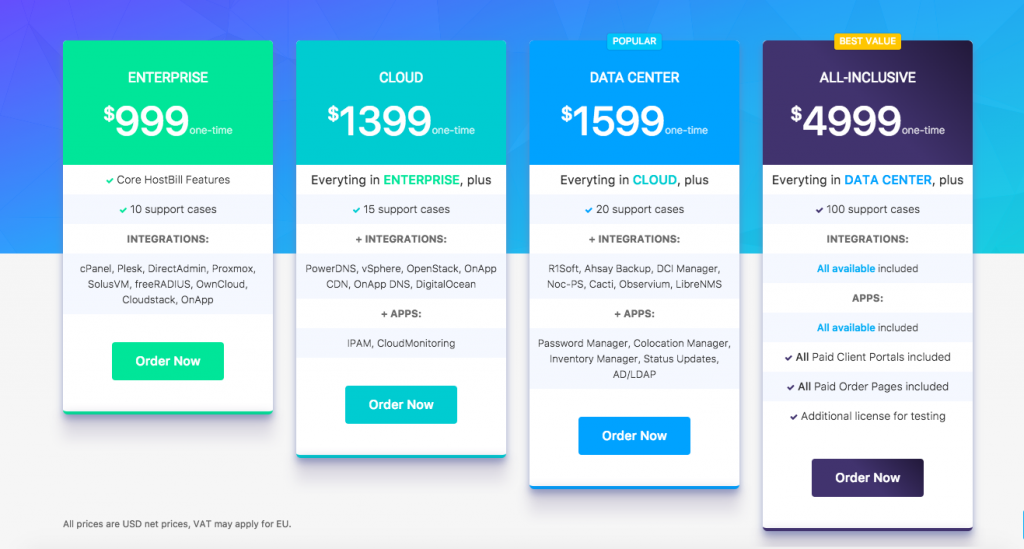 HostBill Plans and Pricing