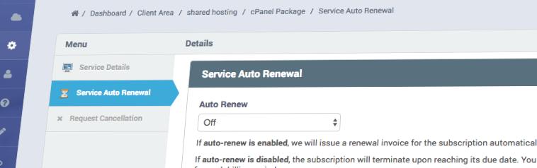 Service Auto-Renewal Control