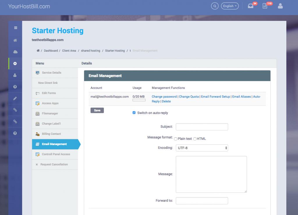 Plesk email management