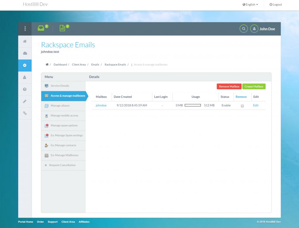 Rackspace email module